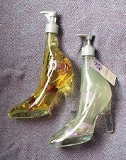 Two Glass High Heeled Shoe Hand Soap Dispensers Decor Stiletto Vintage