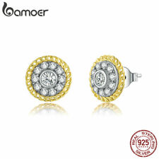 BAMOER S925 Sterling Silver Gold Plated Stud Earrings CZ Blooming Women Jewelry