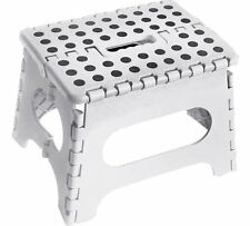 JMS® WHITE Small Plastic Step Stool Folding Multi Purpose Heavy Duty-MADE IN UK