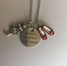 "WIZARD OF OZ inspired NO PLACE LIKE HOME necklace 18"" silver plated in gift bag"