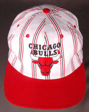 VTG Chicago Bulls Starter Hat-Pin Stripe-White/Red-NBA-Snapback-Basketball-Ball