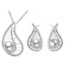 Hochzeit Brautschmuck Satz Silber & weiße Perle Blatt Ohrringe & Halskette S718