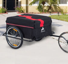 New Aosom Bicycle Bike Cargo Trailer Cart Carrier Runner Shopping Storage Red