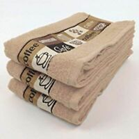 Pack of 3 Cafe Cafe Kitchen Hand Tea Towel in Latte 100% Cotton 50cm x 65cm
