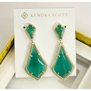 Kendra Scott Alexa Green Cat's Eye Gold Tone Large Drop Earrings NWT