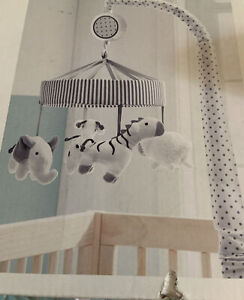Cloud Island Crib Mobile Two by Two Gray White Animal New