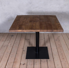 Cafe Square Solid Brown Oak Industrial Dining Table