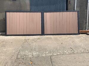 Driveway Gates - Metal Frame Composite Wood Swing Gate Price Per Linear Metre