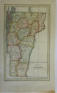 Vermont state by itself 1849 scarce cerographic Town & County Map