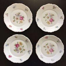 Fine Meissen Floral SET OF 4 Dessert Porcelain Plates Mitterteich Bavaria NR