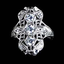 STUNNING_ANTIQUE STYLE BRILLIANT CZ RING SZ-7_925 STERLING SILVER