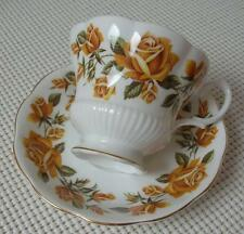 LARGE YELLOW ROSES Royal Albert China FOOTED TEA CUP & SAUCER Made in England