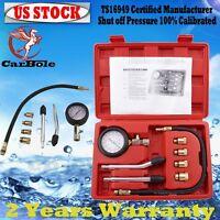 Petrol Engine Compression Tester Test Gauge Kit Car Motorcycle Garage Tool+ Case