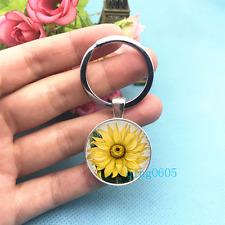 Sunflower Art Photo Tibet Silver Key Ring Glass Cabochon Keychains -485