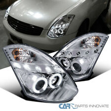 For 03-07 Infiniti G35 2Dr Coupe Clear Lens LED Halo Projector Headlights Pair