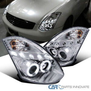 For 03-07 Infiniti G35 2Dr Coupe Clear LED Halo Projector Headlights Laft+Right