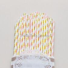 50 Gold Foil and Pink Striped Straws, Paris Decor Birthday, Bridal Tableware Set