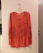 Micheal Kors Rayon Orange Watercolor Long Sleeve Relaxed T-Shirt L