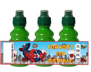 PERSONALISED Super Heroes FRUIT SHOOT BOTTLE LABEL Party Bag Fillers