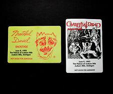 Grateful Dead Backstage Pass Jerry Garcia Stanley Mouse Art Michigan 6/8,9/1993
