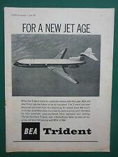 4/1963 PUB COMPAGNIE AERIENNE BEA AIRLINE TRIDENT AIRLINER ORIGINAL AD
