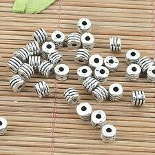 50pcs Tibetan silver tone round textured 4mm spacer beads EF0152