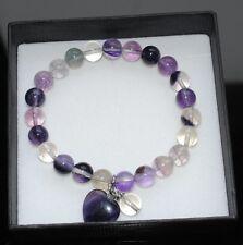 Fluorite Gemstone Bead Bracelet with Heart in Gift Box