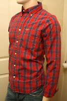 NWT HOLLISTER Mens RED vs Blue Mission Beach Plaided Casual Shirt ~ U PICK SIZE
