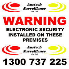 2 x WARNING Electronic Security Coloured Sticker 100x100mm