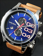 NWT Diesel Men's Watch 51mm. Brown Tan Leather Blue Dial DOUBLE DOWN DZ4322 $195