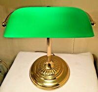 Vintage Brass Piano Bankers Desk Lamp Green Glass Shade Brass Base