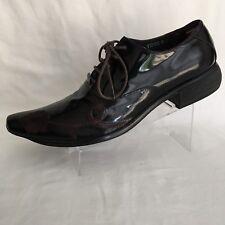 Fiesso Aurelio Garcia Men's Black/Brown Leather Floral Oxfords Shoes Size 9