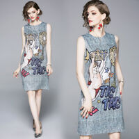 2020 Summer Floral Baroque Print Crew Neck Sleeveless Womens Mini Shift Dresses