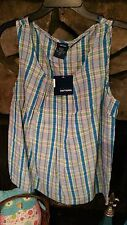 Women's Blouse Size S Turquoise Lime Green Plaid Sleeveless Cute