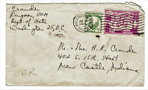 Cover from Rangoon Burma with Scott 107 126 stamps sent 1952 by Diplomatic Pouch