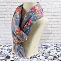 ladies pretty floral scarf Blue scarves pastel scarf pastel coloured scarf
