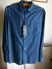 Blue Harbour Indigo Denim Mix Long Sleeve Shirt, Medium, M&S, BNWT