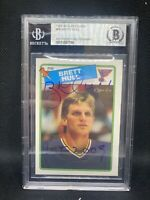 Brett Hull Signed 1988-89 O-Pee-Chee Rookie Card St. Louis Blues BAS Slabbed D1