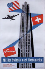 "Vintage Swiss Air  ""America"" Travel Poster"