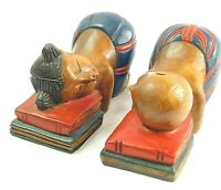 Lot of 2 Vintage Asian Bookends Asian Girl and Boy Resting on Pile of Books