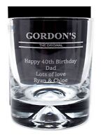 Personalised/Engraved Gordon's Gin Dimple Glass Tumbler Gift Fathers Day/Dad/Mum
