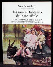 Catalogue Ader Picard Tajan 12 octobre 1990 Tableaux et dessins XIXe NM