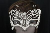 New Women Half Face Eye Costume Mask Silver Metal Butterfly Huge Wide Halloween