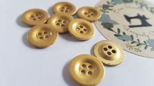 Vintage/retro 4 hole metal button, 8pcs, dia 15.1 mm Colour: bright gold