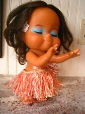 """Vintage Large 9"""" Hawaiian Hula Doll Long Eyelashes Rooted Black Hair Grass Skirt"""