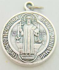 """St Benedict Two Sided Silver Plate Medal Protection Gift from Italy 1""""L by MRT"""