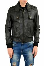 Just Cavalli Men's 100% Leather Black Full Zip Jacket Size XS M