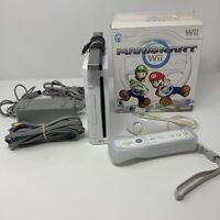 Nintendo Wii Console RVL-001 GameCube Compatible White Console Mario Kart Bundle