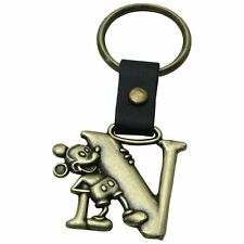 Authentic Disney Mickey Mouse Letter N Brass Keychain Key Ring Chain Keyring