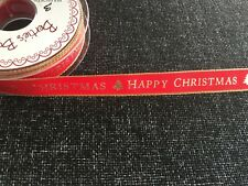 Berisfords R1387115 | Happy Christmas Ribbon 20m X 15mm Christmas Red